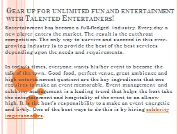 Gear up for unlimited fun and entertainment with Talented E