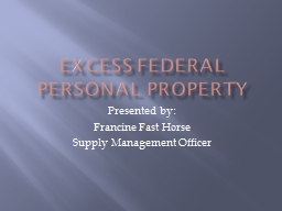 Excess Federal Personal Property