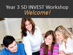 Year 3 SD INVEST Workshop PowerPoint PPT Presentation