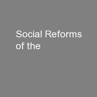 Social Reforms of the