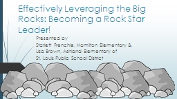 Effectively Leveraging the Big Rocks: Becoming a Rock Star