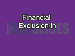 Financial Exclusion in