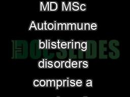 Autoimmune Blistering Diseases in Children Irene LaraCorrales MD MSc and Elena Pope MD MSc Autoimmune blistering disorders comprise a series of conditions in which autoantibodies target components of