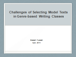 Challenges of Selecting Model Texts in Genre-based Writing