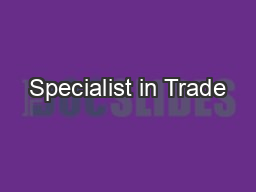 Specialist in Trade
