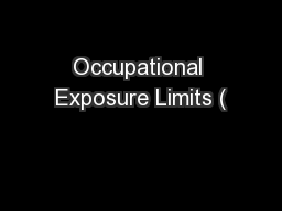 Occupational Exposure Limits (