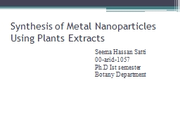 Synthesis of Metal PowerPoint PPT Presentation