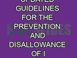 UPDATED GUIDELINES FOR THE PREVENTION AND DISALLOWANCE OF I PowerPoint PPT Presentation