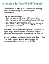 Instructions for Russell Ranch Template