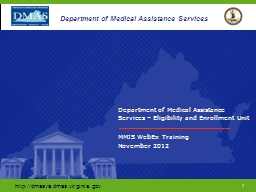 Department of Medical Assistance Services – Eligibility a PowerPoint PPT Presentation