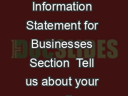 Page  of  BOA R Illinois Department of Revenue BOA Financial Information Statement for Businesses Section  Tell us about your corporation or partnership Part A Corporation or partnership information