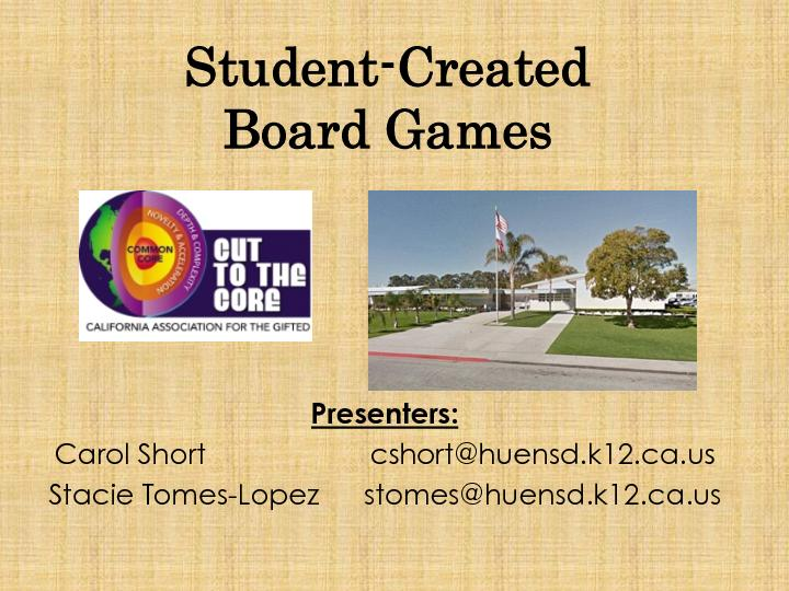 You and your group are to create a board game using the story of