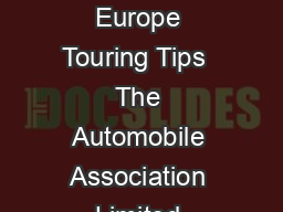 Greece Southern Europe Touring Tips  The Automobile Association Limited