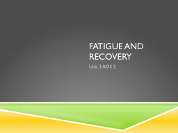 Fatigue and Recovery PowerPoint PPT Presentation