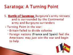 Saratoga: A Turning Point PowerPoint PPT Presentation