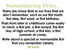 Remembering Firsts…