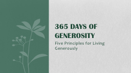 Five Principles for Living Generously