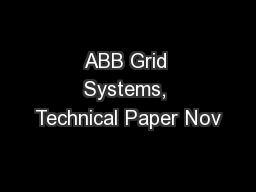 ABB Grid Systems, Technical Paper Nov