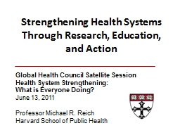 Strengthening Health Systems Through Research, Education, a