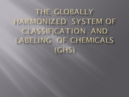 The Globally Harmonized System of Classification and labeli