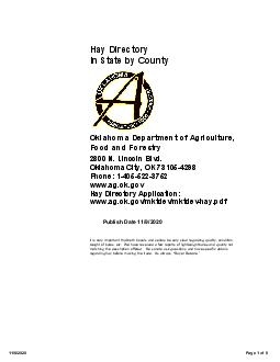 Hay Directory In State by County Oklahoma Department of Agriculture Food and Forestry Publish Date   N