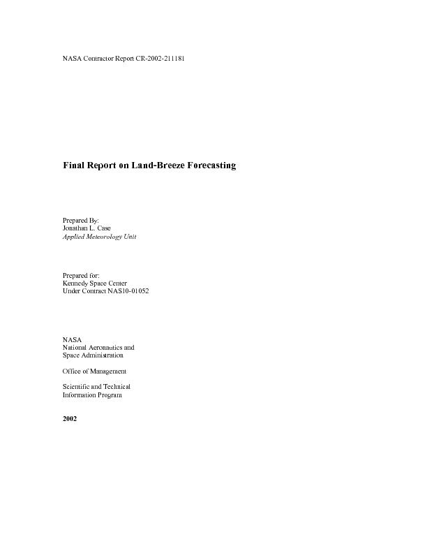 NASA Contractor Report CR-2002-211181 Final Report on Land-Breeze Fore