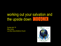 working out your salvation and