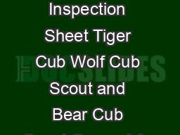 Uniform Inspection Sheet Tiger Cub Wolf Cub Scout and Bear Cub Scout General Ap