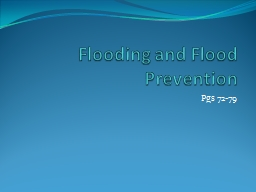Flooding and Flood Prevention