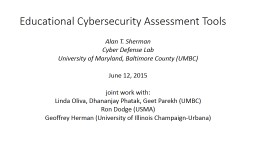 Educational Cybersecurity Assessment Tools