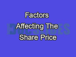 Factors Affecting The Share Price