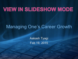 Managing One's Career Growth
