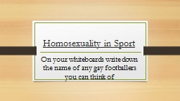 Homosexuality in Sport