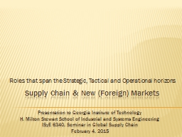 Supply Chain & New (Foreign) Markets