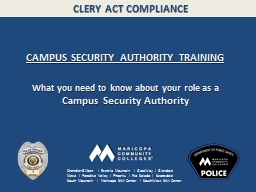 CLERY ACT COMPLIANCE PowerPoint PPT Presentation