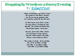 Stopping by Woods on a Snowy Evening PowerPoint PPT Presentation
