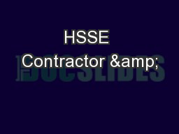 HSSE Contractor &