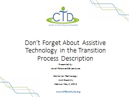 Don't Forget About Assistive Technology in the Transition P