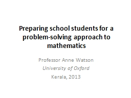 Preparing school students for a problem-solving approach to