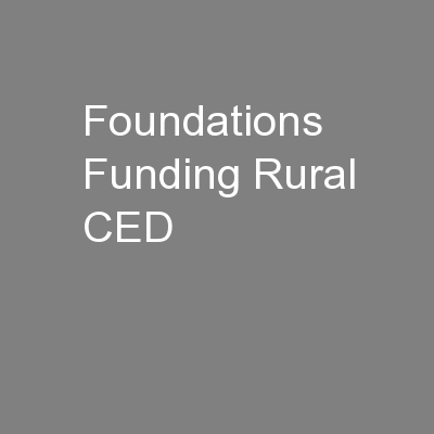 Foundations Funding Rural CED