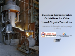 Business Responsibility Guidelines for Coke based Cupola Fo