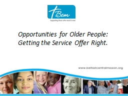 Opportunities for Older People: Getting the Service Offer R