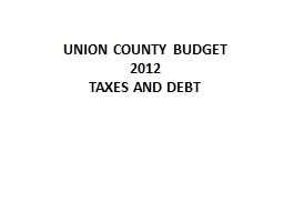 UNION COUNTY BUDGET PowerPoint PPT Presentation