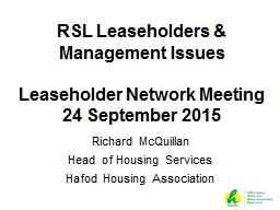 RSL Leaseholders & Management Issues PowerPoint PPT Presentation