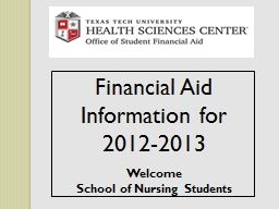 Financial Aid Information for 2012-2013