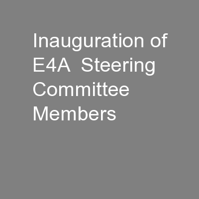 Inauguration of E4A  Steering Committee Members