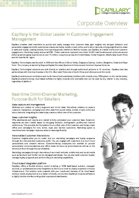Capillary is the Global Leader in Customer Engagement enables retail m