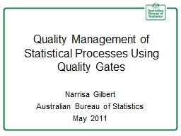 Quality Management of Statistical Processes Using Quality G PowerPoint PPT Presentation