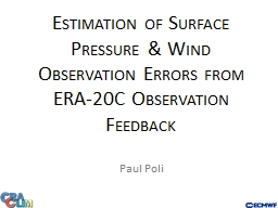 Estimation of Surface Pressure & Wind Observation Error