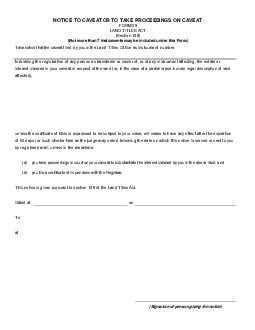 NOTICE TO CAVEATOR TO TAKE PROCEEDINGS ON CAVEAT